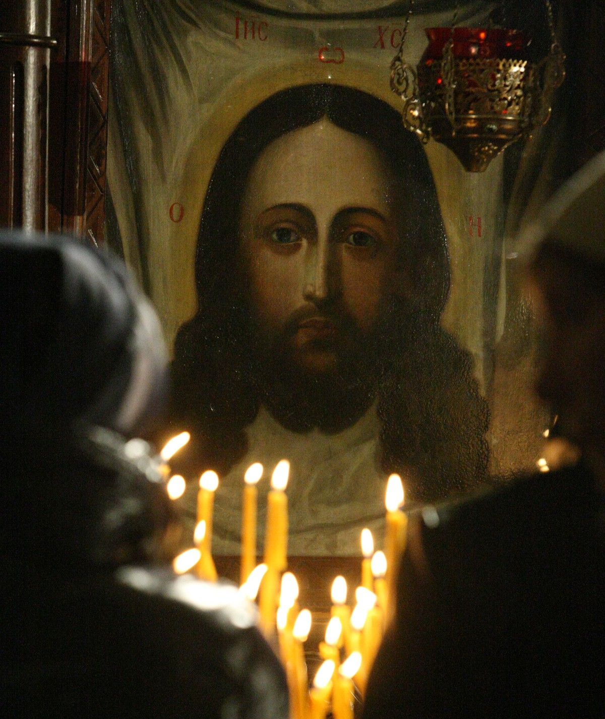 икона, Иисус Христос, свеча, храм, молитва, свеча, огонь