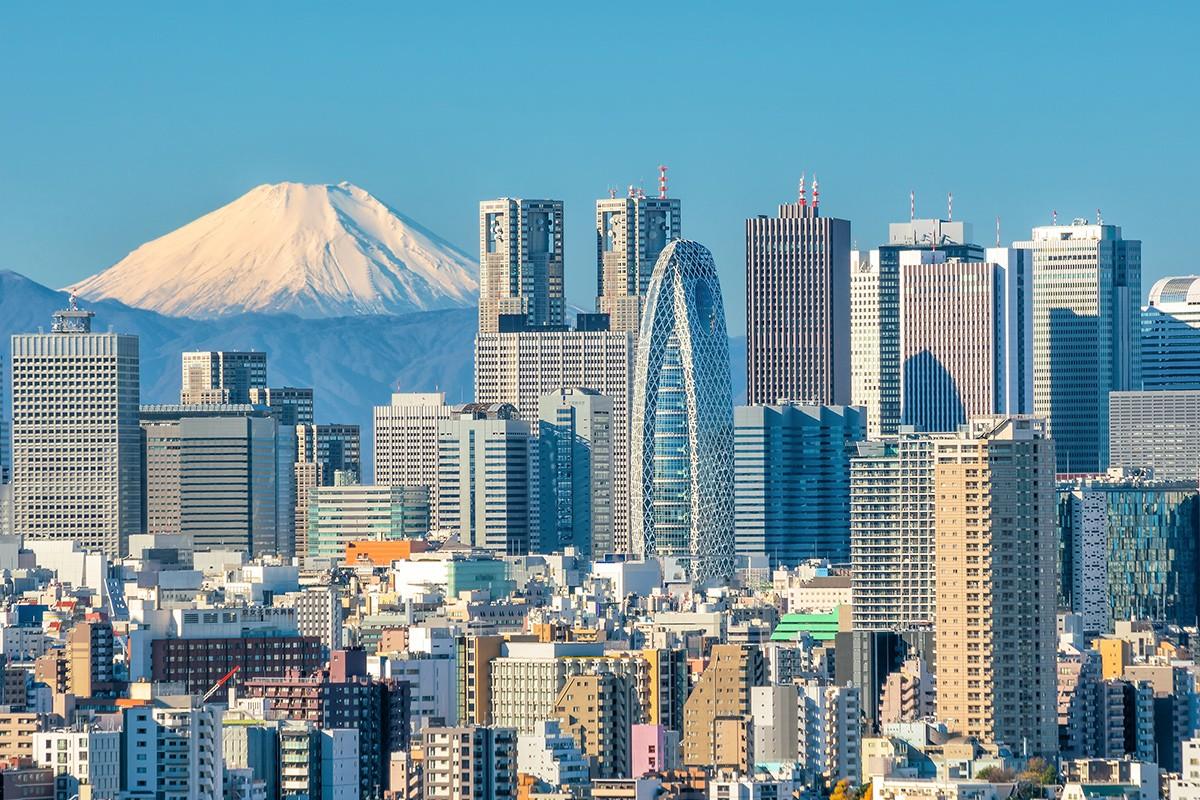 Горизонт Токио и гора Фудзи в Японии