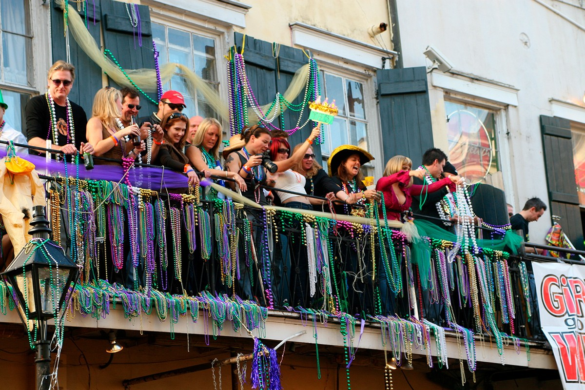 Марди Гра, Новый Орлеан, карнавал, джаз, балкон