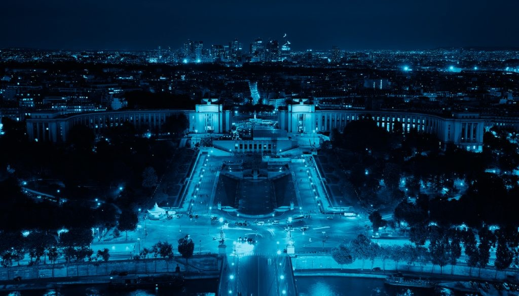 ночь, Париж, панорама, город, красота