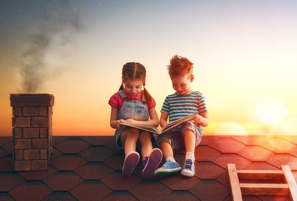 дети, книга, брат, сестра