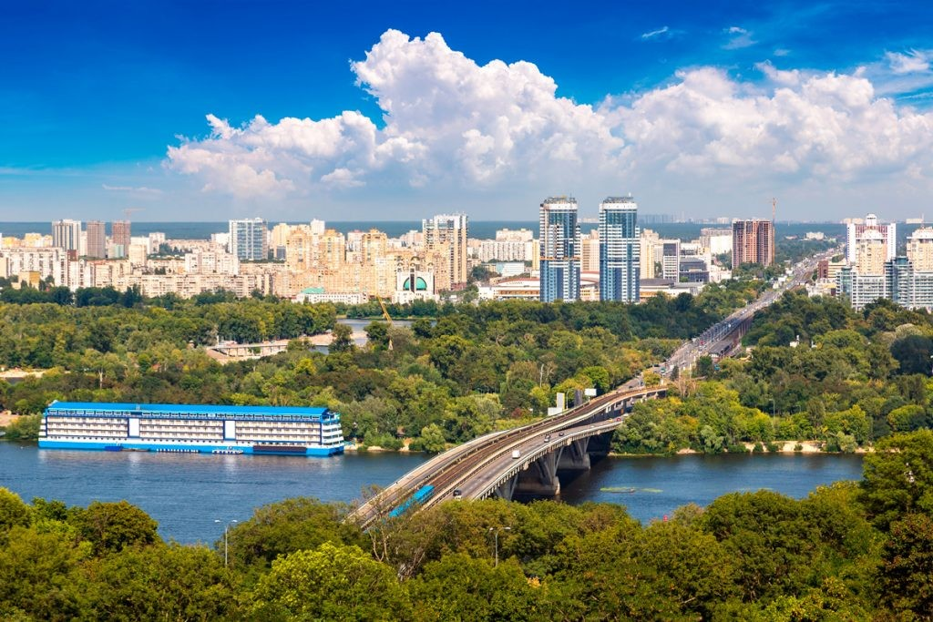 Киев, мост, метро, красота, Днепр