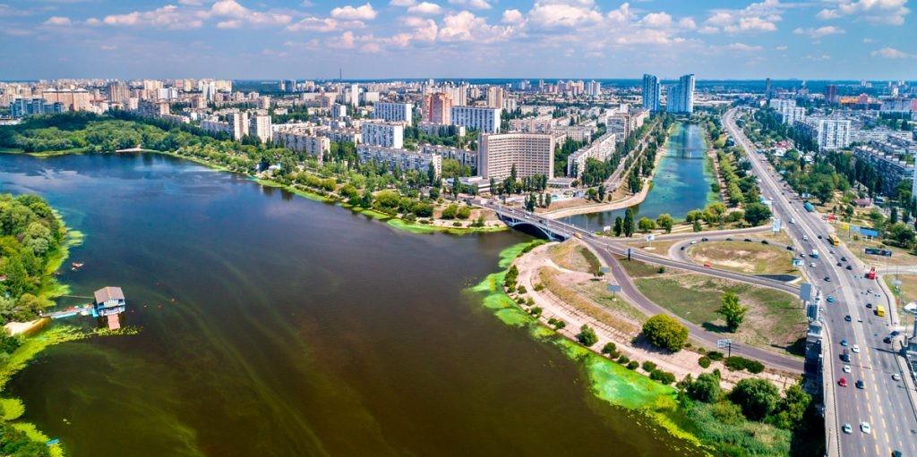 Киев, Русановка, вид, панорама