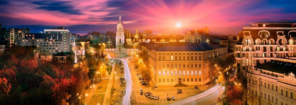 Киев, панорама, расцвет, София Киевская, Софиевский собор, город, ночь