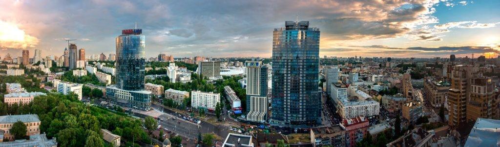 Киев, столица Украины, панорама, город, высота, небоскребы, дома