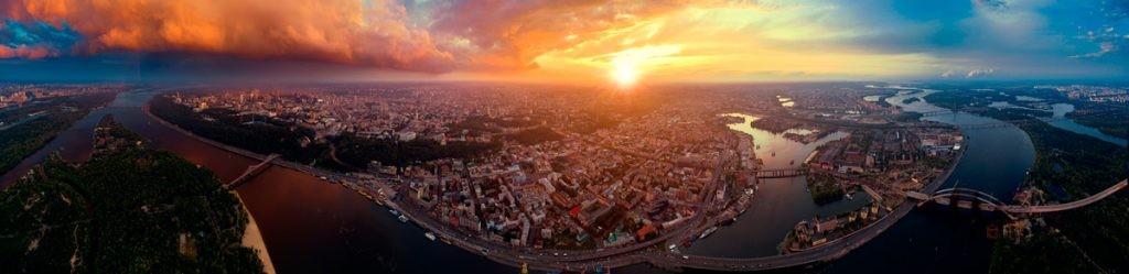 Киев, столица Украины, панорама, город, вид