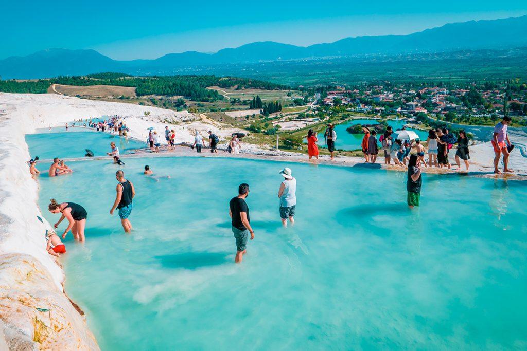 термальный курорт, Турция, соль, здоровье, люди, горы