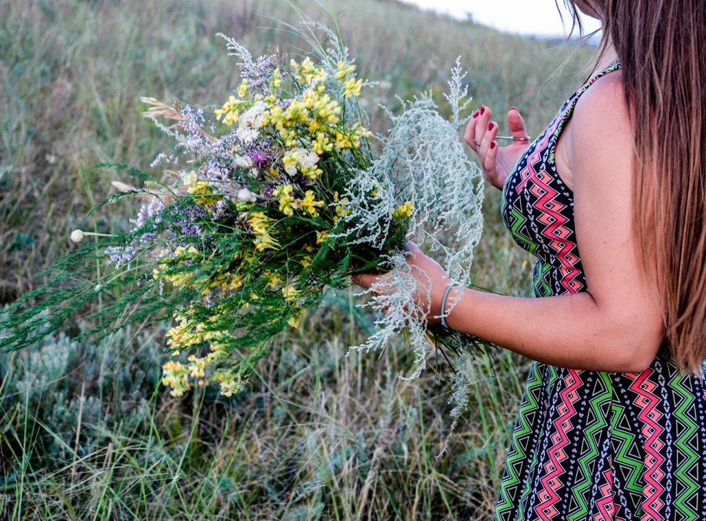 трава, сбор трав, цветы, поле