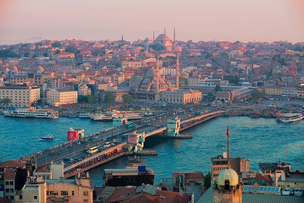 Галатский мост Турция, панорама