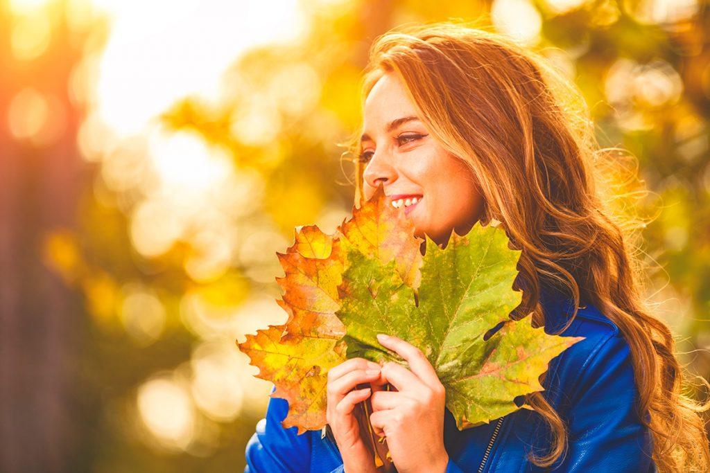 осень, листья, девушка, красота