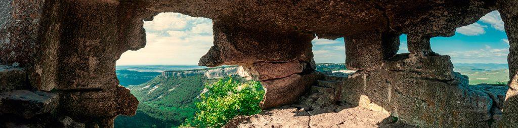 Крым, Украина, Мангуп, скалы, гора, природа, панорама, вид, лето, путешествие, горизонт, небо
