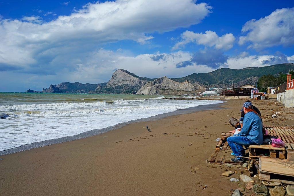осень, Крым, море, пляж, люди, скала, горы
