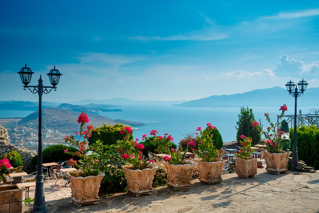Саранда , Албания, вид, море, горы