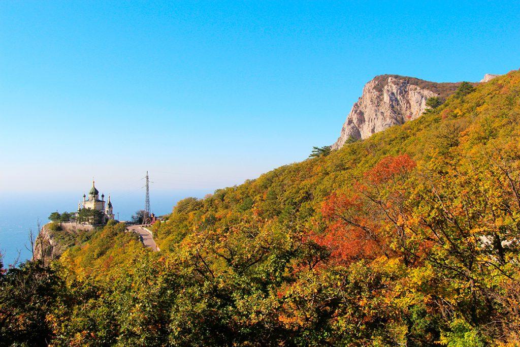 осень, Крым, море , Форос, храм, гора , Украина