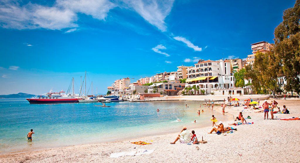 Бархатный сезон , Албания, Саранда , море, пляж, отдых, природа, осень