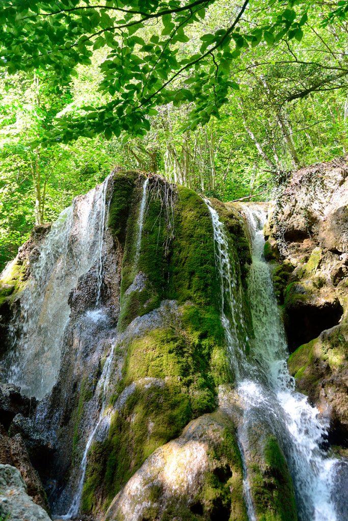 водопад Серебряные струи, Крым, лето, Украина. природа, деревья