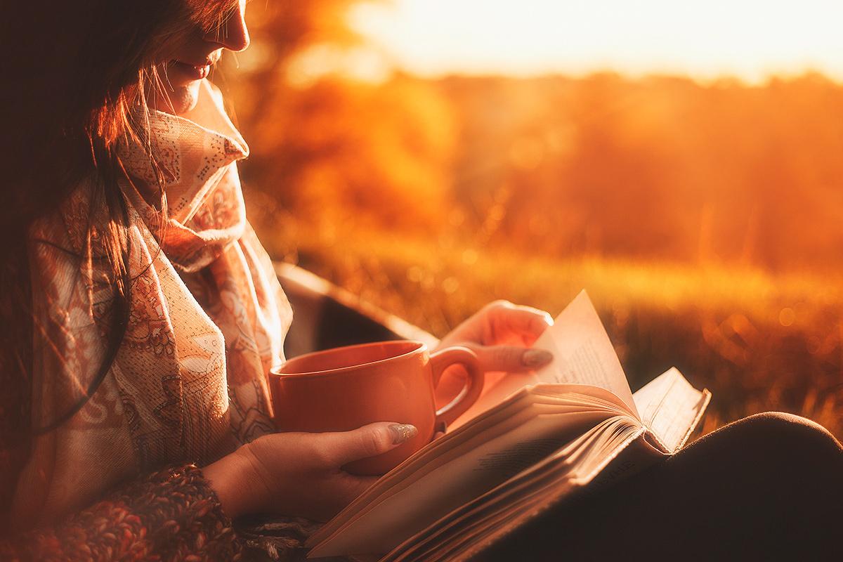книга, осень, читать, виноград