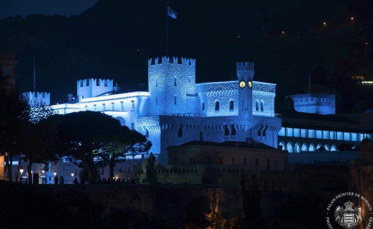Монако, дворец Монако, династия Гримальди, иллюминация ночью