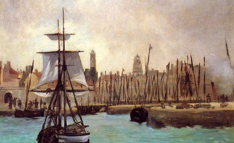 Картина Эдуарда Мане, морской пейзаж, парусник