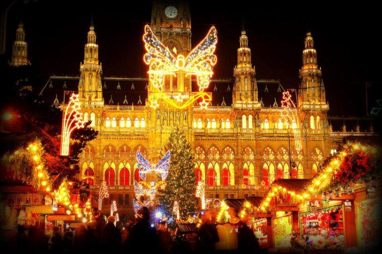 Ратуша, Вена, рождественский базар, Новый год, Рождество