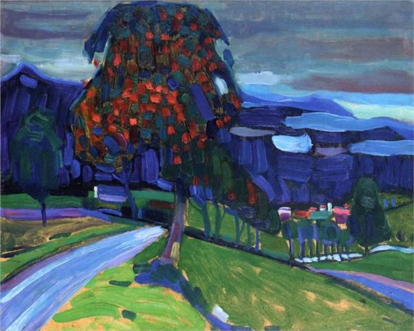 Осень в Мурнау, Кандинский, 1908, картина, художник