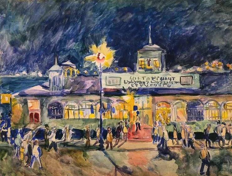 Пристань в Сухуми ночью