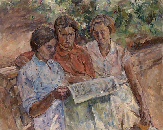 Лентулов, соцарт, женщины с газетой