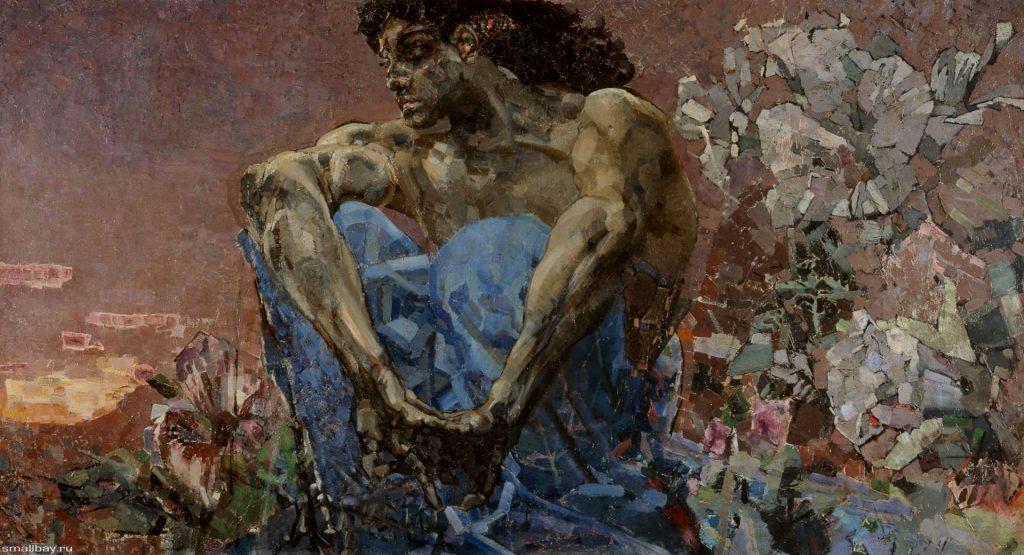 Демон сидящий, картина Врубеля