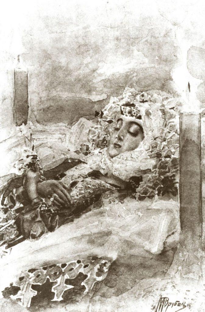 Смерть Тамары иллюстрация Врубель, «Демон» Лермонтова