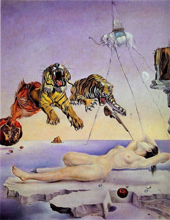 Сальвадор Дали, картина, Сон, вызванный полётом пчелы вокруг граната, за секунду до пробуждения