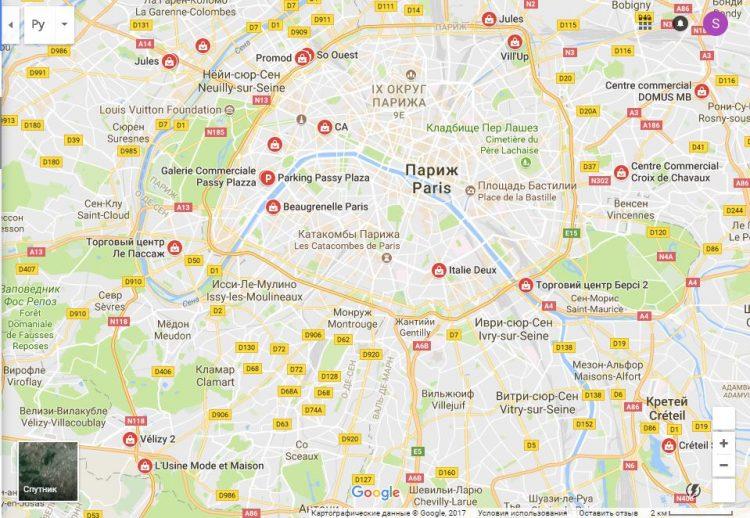 Карта распродаж Франции