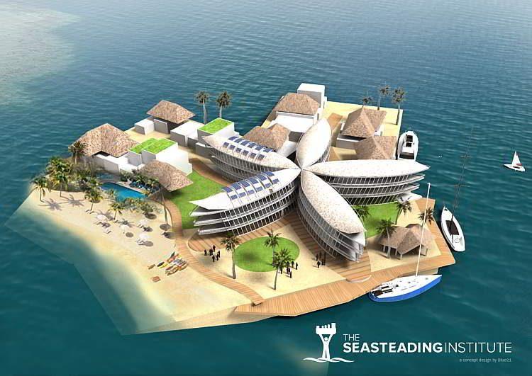 Архитектура будущего, плавающий дом, плавучий город, города в океане