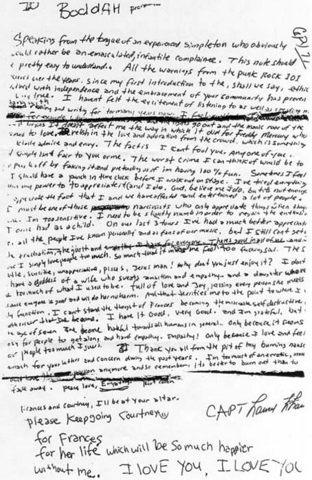 Курт Кобейн Kurt Cobain предсмертная записка