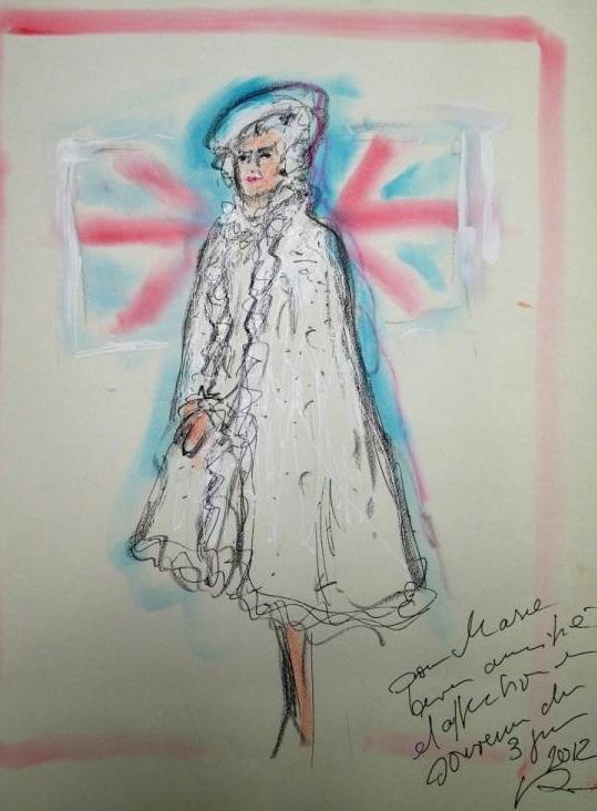 Карл Лагерфельд, карликатуры, карикатуры, Елизавета Вторая, королева, рисунок, эскиз, мода