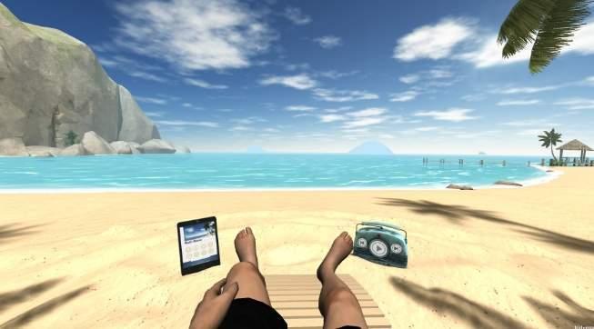 VR, виртуальная реальность, пляж