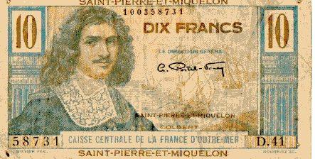 Жан-Батист Кольбер, купюра, 10 франков