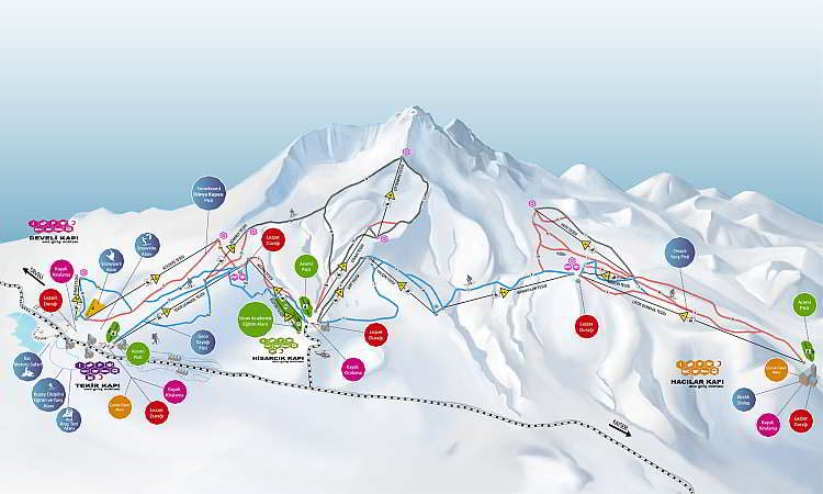 Турция, горнолыжный курорт в Турции, карта трасс