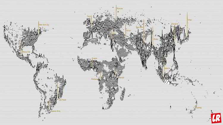 перенаселение, визуализация данных, карта мира, мегаполисы, планета Земля, народы