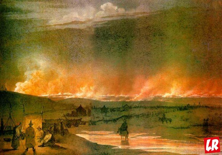 Пожар в степи, Шевченко, акварель