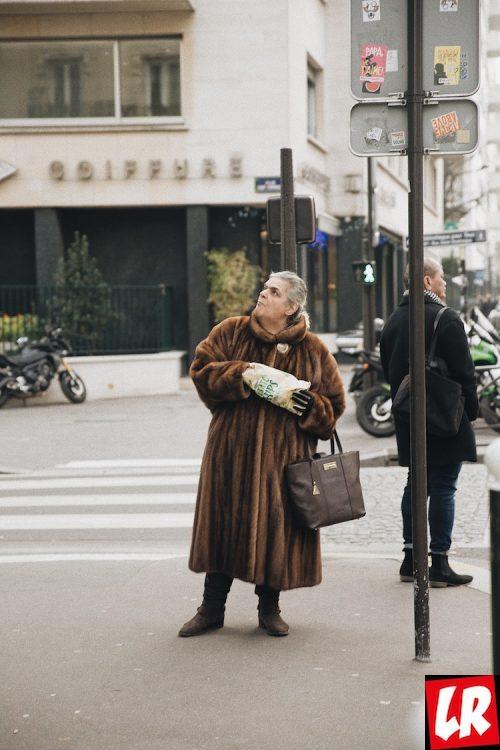 Париж, норковая шуба, улица
