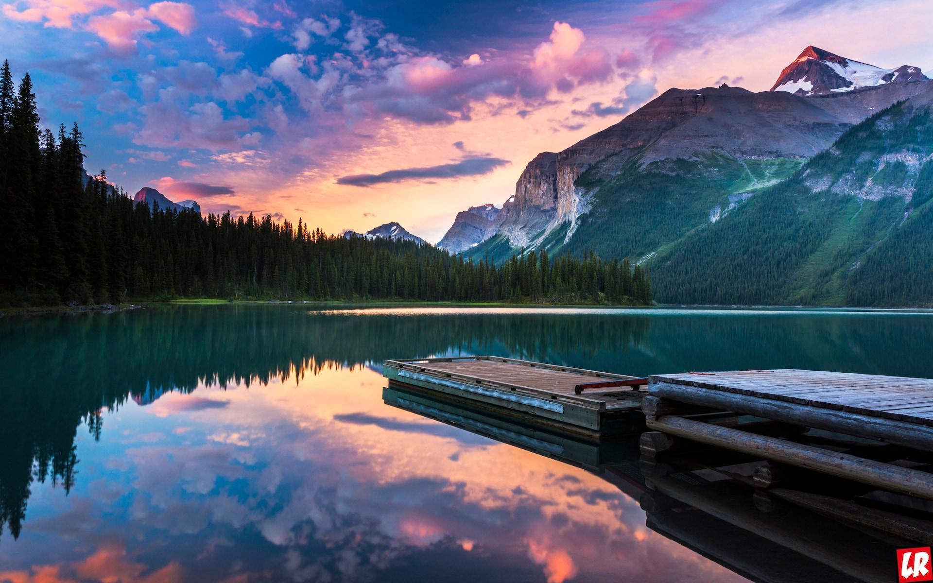 горы, лес, река, Канада, закат, вечер, небо, Лучшие места отдыха