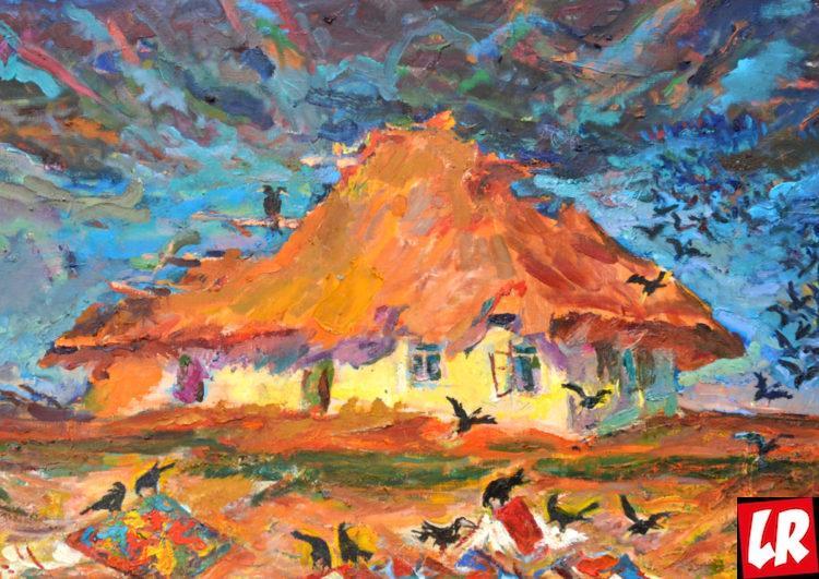 пейзаж, Василий Забашта, художник, живопись, Украина, хата, украинское село, вороны