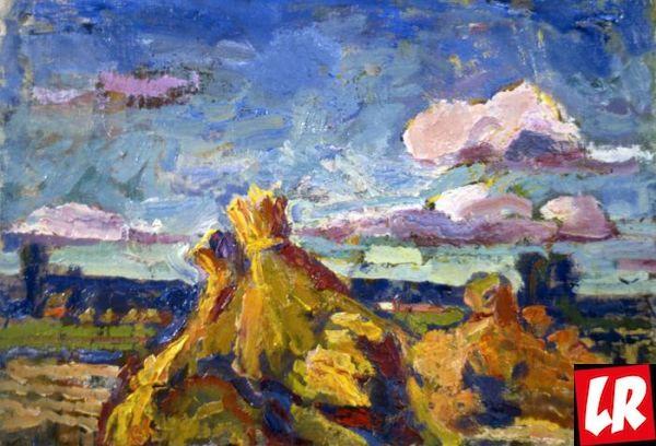 пейзаж, Василий Забашта, художник, живопись, Украина, снопы, сено
