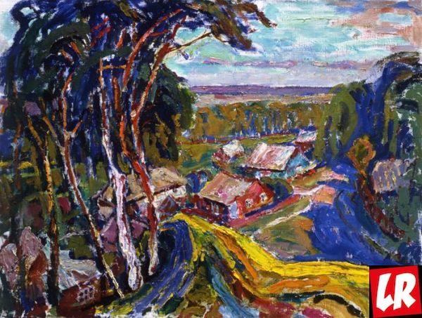 украинское село, пейзаж, Василий Забашта, художник, море, живопись, Украина, березы, тропинка
