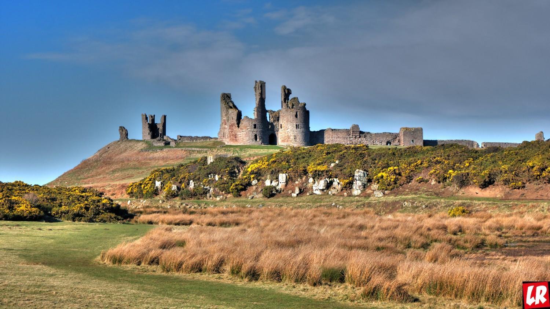 руины, замок, старый, Англия, Шотландия, 14 век, Данстанборо