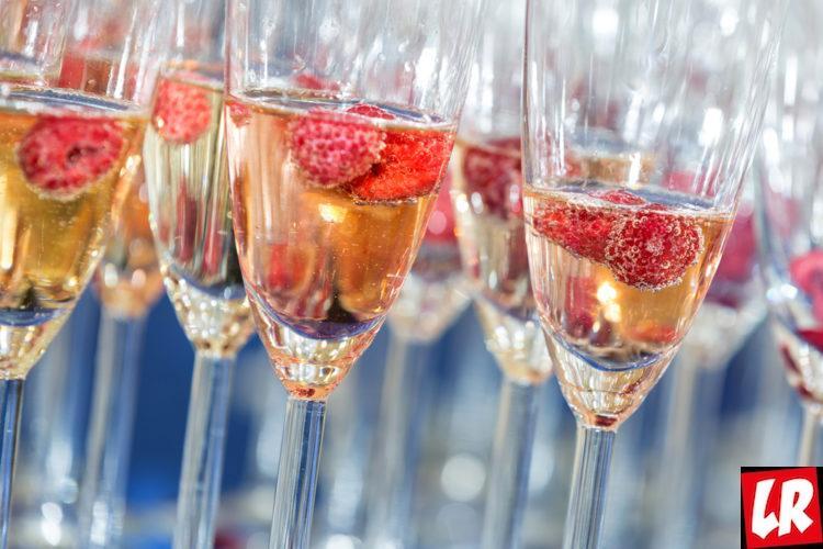 шампанское, ягоды, малина