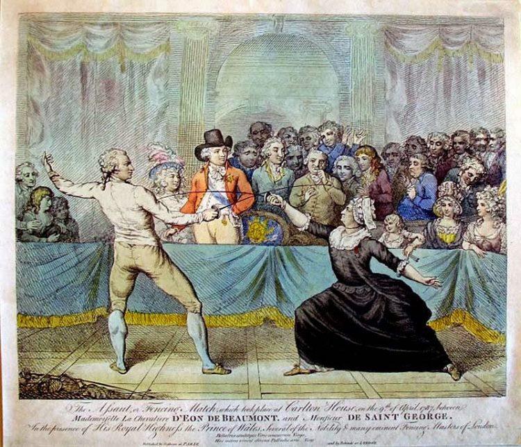 разведчик, гравюра, д'Эон, Франция, фехтование, шпага