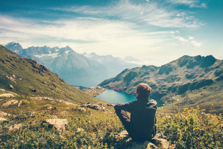 путешествие, природа, горы, один, озеро, пейзаж, панорама