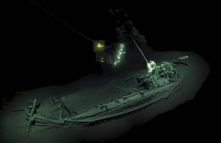 античное судно, открытие