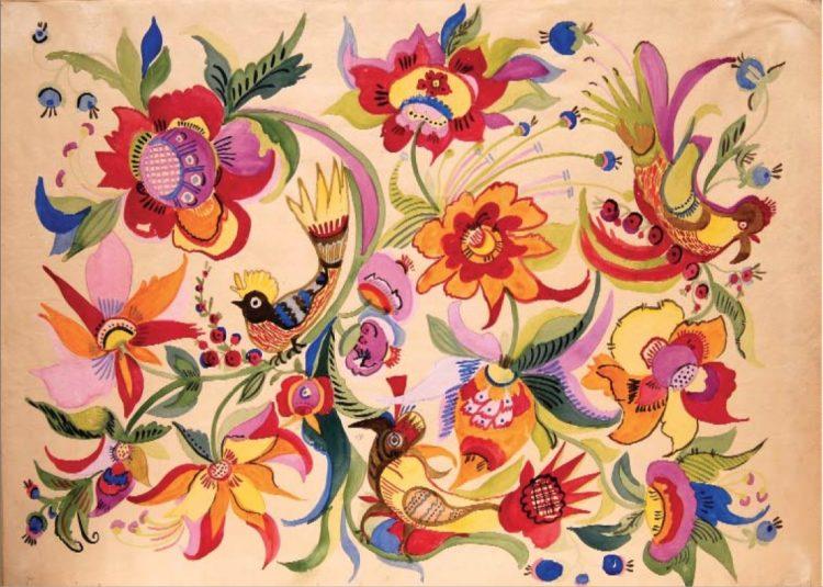 художница, Декоративное панно 1935, Анна Собачко-Шостак, живопись, Украина, картины,